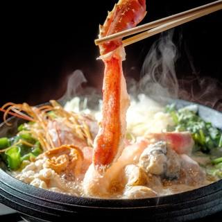 ◆期間限定・フェア◆本たらば蟹と旬鮮魚の濃厚雲丹しゃぶしゃぶ