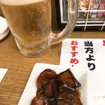 三陽 - ◆ビール 570円 ◆にんにく サービス