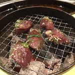 立喰☆焼肉 - 超新鮮山形牛炙りレバー(550円)