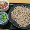 生粉蕎麦 玄 - 料理写真:「ざるそば」(280円)+「ミニ鮪丼」(400円)。
