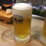 笹寿し - 生ビールが美味しそうなんよ       これは相方の生ビール       2回とも自分のは普通の泡でした…