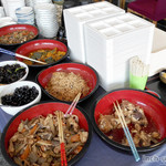 MOM'S - ブリ大根、筑前煮、南瓜煮、切干大根、煮豆、中華あんの玉子丼、茶椀蒸し、ごはん、味噌汁、ひじき煮、珈琲ゼリ-、ざる蕎麦