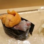 小樽おり鮨 - 海老頭と雲丹 2018.11月