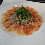 二階のレストラン - 地鶏のムネタタキ ラビゴットソース