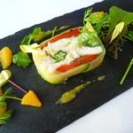 96351987 - 平目のポッシェと季節野菜のテリーヌ、サフラン香るオレンジソース