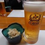 鮨まるやま - 生ビール(540円)