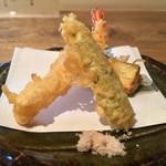 蕎麦前 小まつ - 昼御膳 1,100円 魚介と野菜の天麩羅
