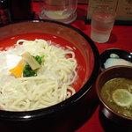 鴨錦 - うどん(冷)並み+温泉卵