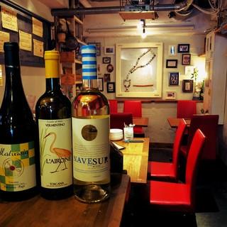 常時グラスワイン白9種類、赤各種6種類以上ご用意しております