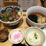 鮪市場 - 選べる定食(びん長まぐろ漬け丼+小かけそば+ポテサラ)