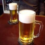 澤田家 - とりあえず生ビール;手前が大(700円)、向こうが小(600円)