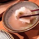 炊き餃子・手羽先 オクムラ - 炊き餃子はゆず胡椒を付けて食べます。