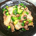 くつろぎ - 猪肉のネギ塩焼き