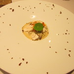 ルセット - 白子とウニとコンフィにし乾燥させた粉末ポルチーニを使ったイタリア米のリゾット
