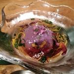 宮崎風土 くわんね - [料理] 季節の前菜:紫芋のムース 全景♪w