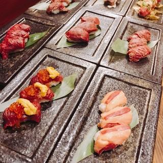 さらに充実した肉寿司の数々