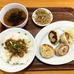 96494210 - 焼き餃子6個定食+魯肉飯(ルーローハン)¥990