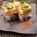 玄海鮨 - アナゴの棒鮨 リバースアングル