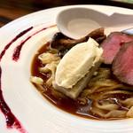 らーめん 稲荷屋 - 料理写真:フォンドシュブルイユをグランヴタールで、レンコンのガレットと和栗のモンブランと共に・900円