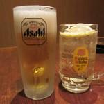 ふとっぱらや - 生ビール アサヒスーパードライ&ハイボール