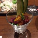 96520042 - ウニと桜肉のミニパフェ