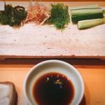 鮨ふるかわ - ワカメ、ミョウガ、海藻、胡瓜