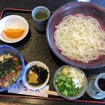 泉七八 - 料理写真:釜上げうどん+ミニねぎとろ丼