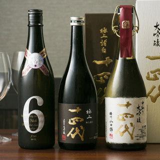 季節の日本酒は希少銘柄常時15種類、焼酎も種類方法にご用意。
