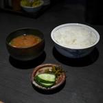 藤原亭 - 味噌汁と漬物も美味しい☆