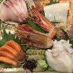 男爵亭 - 刺身盛り合わせ(小)3200円。生ダコとカンパチは美味しかったです(^。^)。お店指定の盛り合わせは、特にお刺身の場合、当たり外れが大きいですね。。。