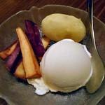 旬菜 籐や - サツマイモ添えのアイスクリーム