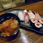 旬菜 籐や - 寿司盛り合わせ & 甘エビの頭の味噌汁