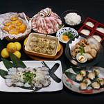 武蔵 - 瀬戸内地だこの鉄板焼き&ブリのてまり寿司+ごま香る。山口県産鹿野豚の中華風鍋コース