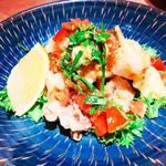 真鱈の白子と舞茸のフリット 青紫蘇とチェリートマトのサラダ仕立て
