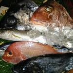 竹亭にしき - かごもりで本日の魚を説明 サンマ、クロダイ、マダイなど