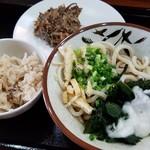 96611447 - とろろ温玉うどん(冷)+いりこ飯+煮干しの天ぷら