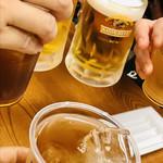 Takoyakiyamachannigouten - 冷たいお茶とか冷やし飴とかビールとか…             で、乾杯〜〜♪