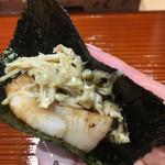 96618950 - 帆立の炙りと蟹と蟹味噌、海苔で巻いて