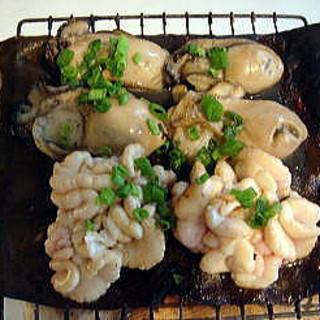 白子と牡蠣の昆布焼き