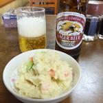 なかとら食堂 - ビール小瓶&ポテトサラダ