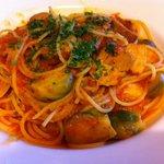 9665923 - 豚バラ肉のトマト煮込みと芽キャベツのパスタ