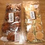あすみ煎餅 - げんこつ 7個 500円、えび桜 4枚入り×5袋 260円 2018.10