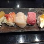 96685307 - 数の子、赤貝、ホタテ、トロ、松茸