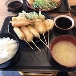96708412 - モリスの串カツ定食ご飯大盛り800円!