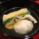 銀座 しのはら - お椀 巻いて揚げた東寺湯葉 紅ずわい蟹のしんじょう 舞茸