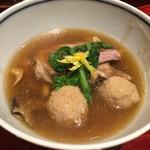銀座 しのはら - 合鴨、鴨がん(鴨つくね)、鶉、きのこの煮物