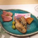 96725343 - 鴨、鯖の竜田揚げ、銀杏、さつま芋