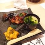 96725369 - 鶏の照り焼き、茄子、カボチャサラダ、茶わん蒸し