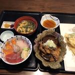 96739282 - 海鮮三色丼、あら炊き、穴子天ぷら、キス天ぷら