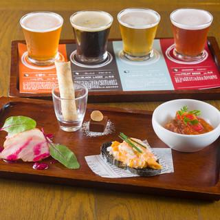 ハワイアン料理と共にこだわりのクラフトビール4種を飲み比べ。